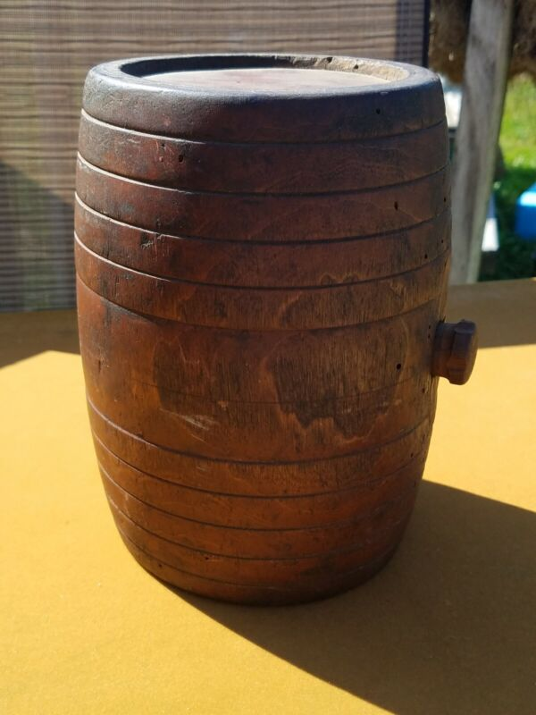 Wood Wooden Rundlet Rumlet Bottle Rum Keg Cask Vintage Original Antique
