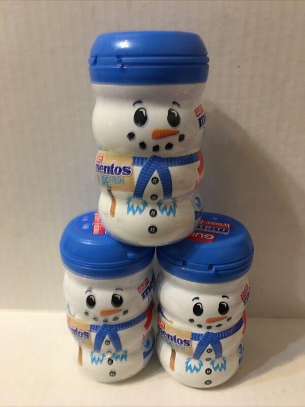 3 Bottles Mentos Pure Fresh Gum Winter Edition Snowmen 50ct Each