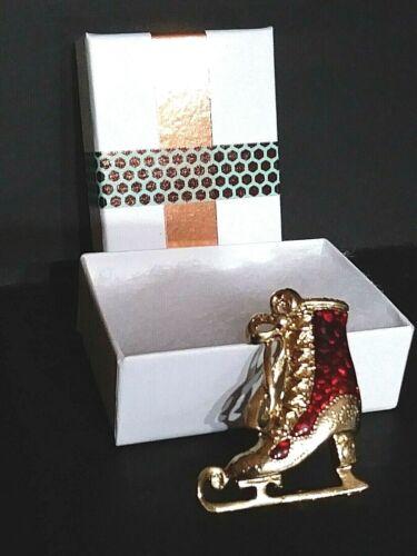 Vintage Ice Skate Brooch Pin Red Enamel Gold Tone