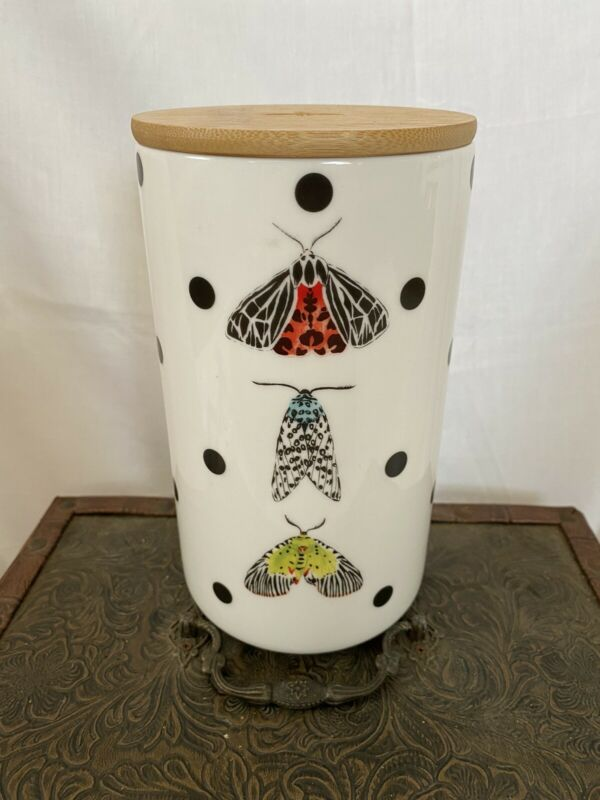Beautiful Butterfly Polka Dot Canister/ Vase NEW