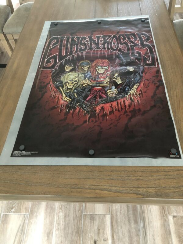 "NEW OLD STOCK 1992 VINTAGE ORIGINAL GUNS N ROSES WALL POSTER 34"" X 22"""