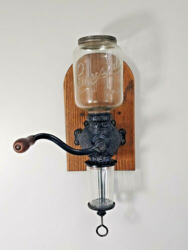 ANTIQUE ARCADE CRYSTAL No.3 WALL MOUNT COFFEE GRINDER - COMPLETE - WORKING