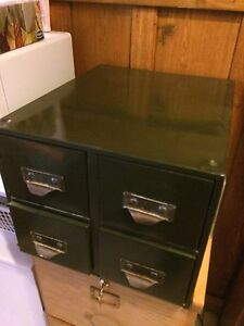 Vintage industrial green metal 4 drawer cabinet