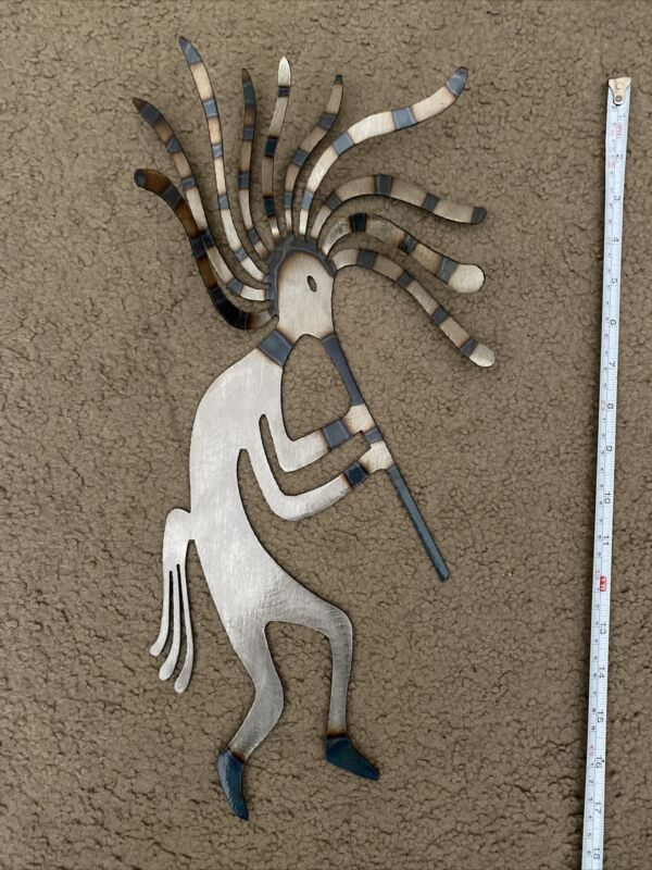 "Kokopelli Southwestern Native American Music Wall Hanging Metal Art 19"""
