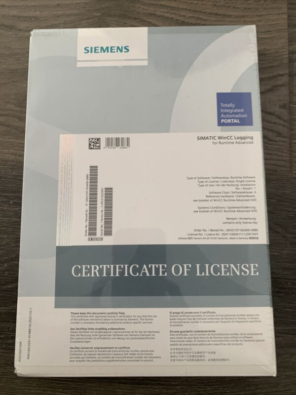 Siemens Simatic WinCC Logging for Runtime Advanced 6AV2107-0GA00-0BB0 New & Seal