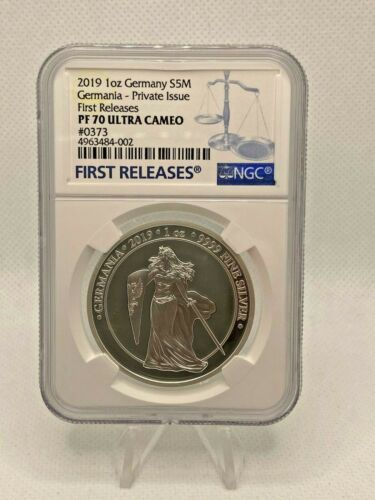 GERMANIA 2019 PROOF 1 OZ SILVER COIN - NGC FIRST RELEASES PF70 ULTRA CAMEO #373