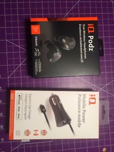 Wireless Bluetooth headphones and Apple lightning car charger