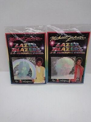 (2) 1984 MICHAEL JACKSON LAZER BLAZER 3-D HOLOGRAPHIC STICKERS BY COLORFORM