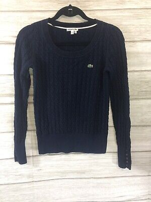 Lacoste Womens Sweater Cable Knit Blue Top 100% Cotton Stretch • 38 Size SMALL