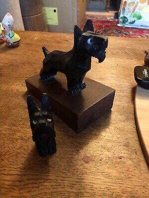2 Vintage Carved Wooden Scottie Dogs with Glass Eyes 1940/50's