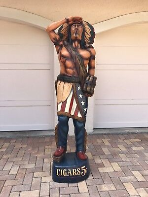 Vintage Wooden Cigar Store Indian Statue 6 Feet Tall Pristine Condition