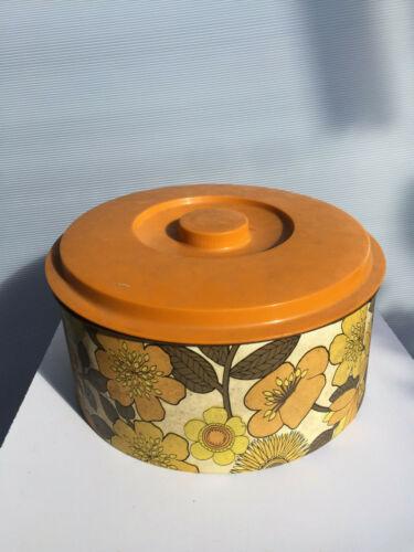 Vintage lidded tin 1970s floral ORANGE LID metal tin plastic lid CANISTER barrel