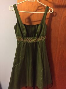 Green and gold formal dress