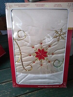 Red and Gold Poinsettia Adjustable Festive Christmas Decor Tree Skirt used 66