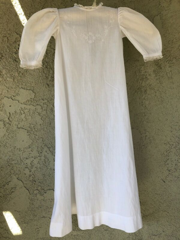 Antique Primitive Christening White Gown Infant Baby Long Sleeve Dress Sz 0-6 M
