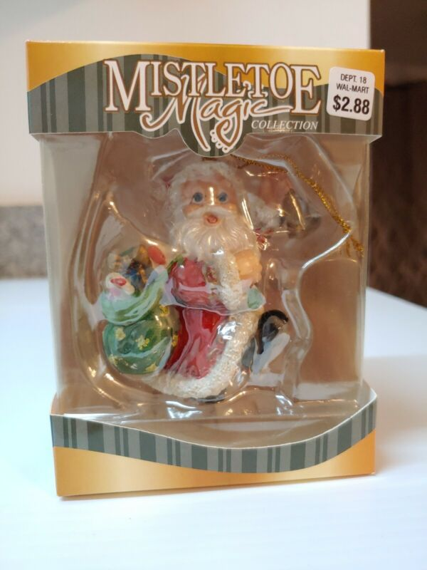 SANTA WITH BAG OF GIFTS Mistletoe Magic Collection CHRISTMAS ORNAMENT VERY RARE!
