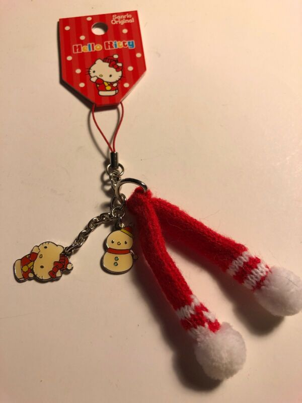 Rare Mini Sanrio Original Japan 2008 Charm Zipper Pull Hello Kitty Winter Mitten