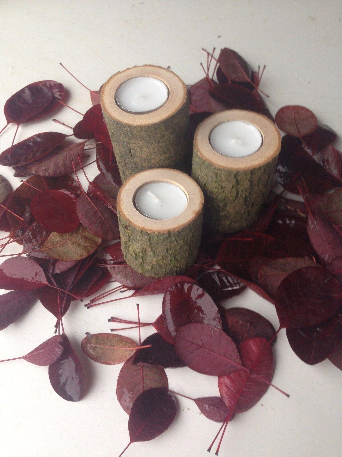 Kerzenhalter bestehend aus 3erSet Holz Deko Teelichthalter, Kerzenständer