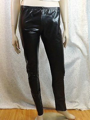 NWT PRADA BLACK FAUX LEATHER JERSEY RD STYLE LEGGING PANTS SIZE L