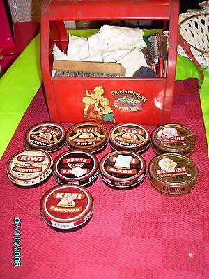 Vintage 8  Red Metal Kidd E Shu Shine Bank By Amsco Toy Shoe Shine Box  Children