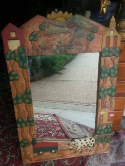LARGE TIMBER CARVED MIRROR - READY TO HANG - 120 CM HIGH