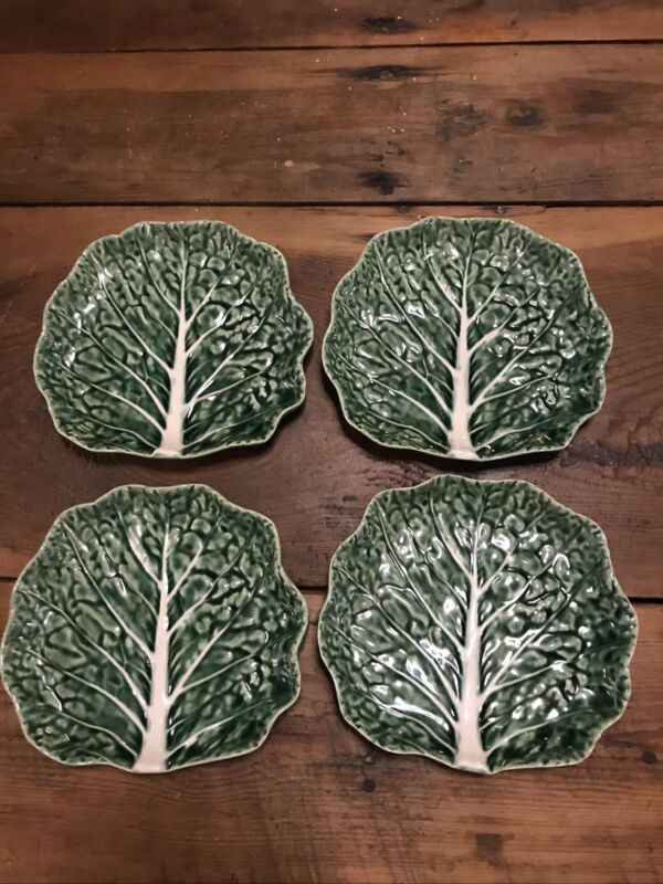 Lot Of 4 BORDALLO PINHEIRO Green Cabbage Leaf Side Plates - 7 x 7 1/2 inches