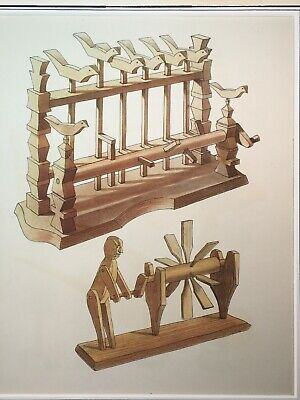 Folk Toys Antique Print, Stone lithograph, French matted,  Whirligig NO REPRO