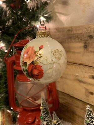 "1 Christmas by Krebs Victorian Roses Hand Painted Glass Ball Ornament 2-1/2"" ()"