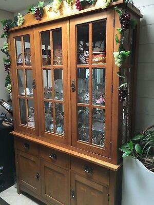 (Oak China Display Curio Cabinet)