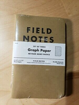 Field Notes Original Kraft 3-pack - Graph Paper - 48 Pages - 3.5 X 5.5 New
