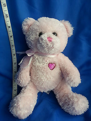 Aurora Pink Teddy Bear Soft Toy ~ Pink Loveheart to Chest P0706