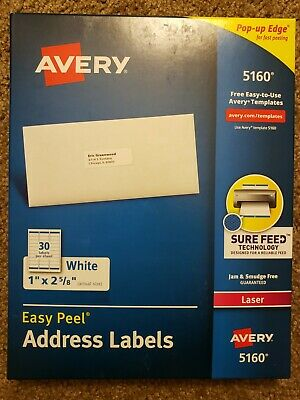 Avery 5160 Address Labels - 1 X 2 58 - 270 Total - 9 Sheets - Blank White