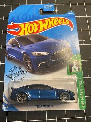Hot Wheels 2019 #226 ~ TESLA MODEL S ~ HW Green Speed 4/5 ~Blue ~ Case P