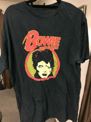 VINTAGE STYLE DAVID BOWIE ZIGGY STARDUST USED BLACK T-SHIRT EXTRA LARGE NICE!