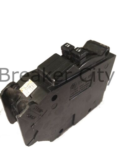 GE 15/15 Amp 2Pole Type TR1515 Tandem General Electric Circuit Breaker (CHIPPED)