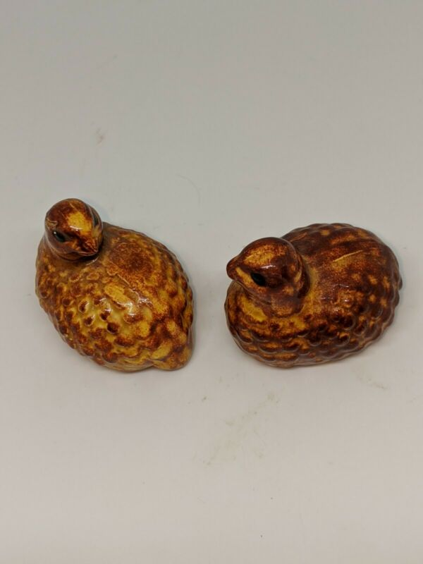 Vintage Brown rust orange Ceramic Quail Partridge Pair Figurines Small birds
