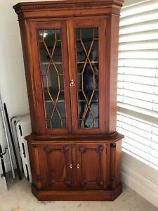 Corner formal display cabinet