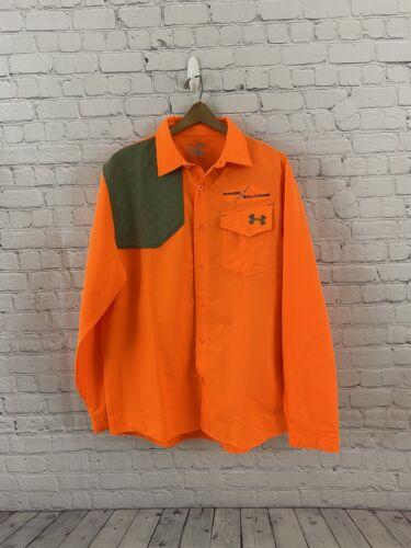 Under Armour All Season Blaze Orange Shoulder Padded Shooting Hunting Shirt XL  - $45.00