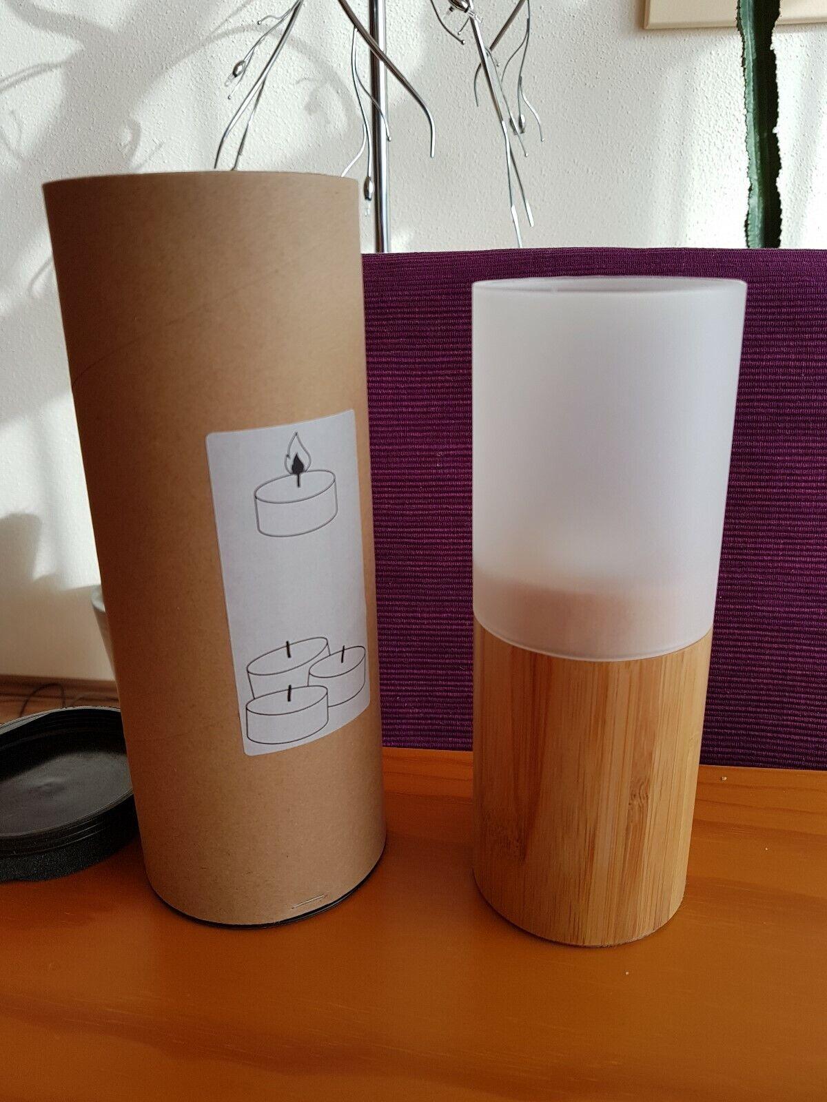 Teelichthalter asiatisch aus Bambus für innen und außen mit Glaskörper