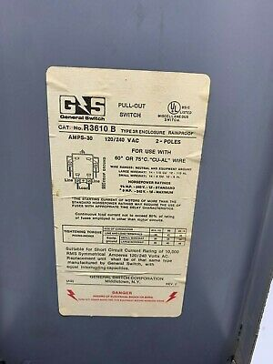 General Switch 30 Amp Vintage Fuse Pull Out Lid W Notched Double Bar Divider