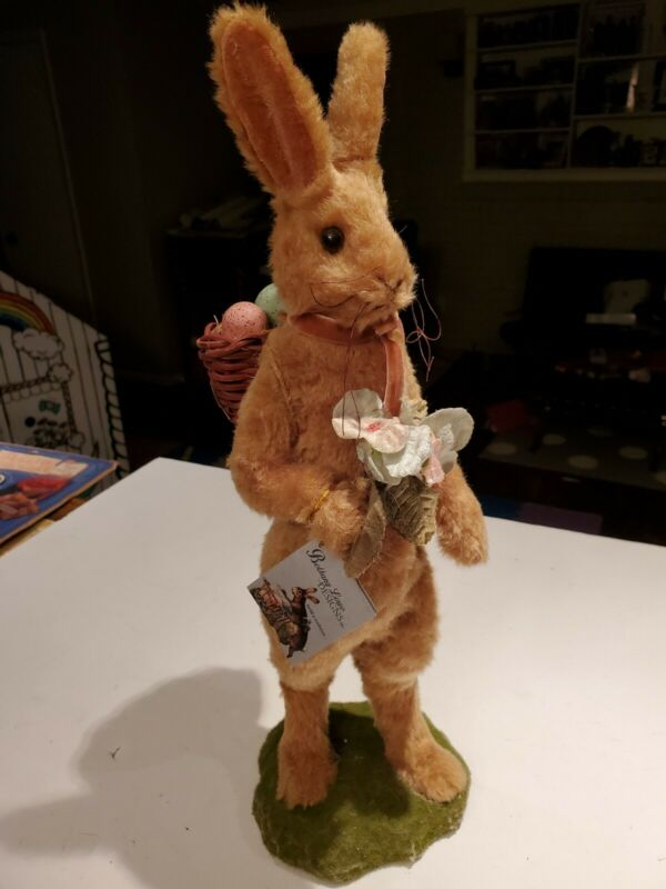 "Bethany Lowe Designs 16"" Fuzzy Easter Bunny With Egg Basket"