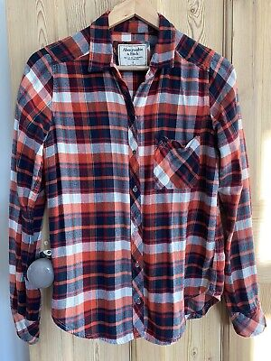 Abercrombie & Fitch Ladies Lumberjack Checked Shirt Navy/Red/White Plaid. Small