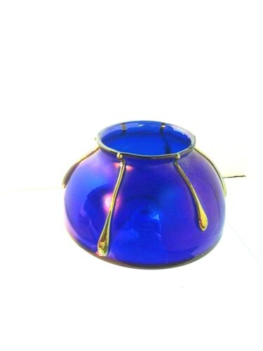 Antique Loetz Art Glass Vase Rare Loetz 1890-1900 Iridescent Cobalt Blue + Gold