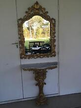 Ornate Gold Mirror with Matching Marble top Side Table East Kurrajong Hawkesbury Area Preview