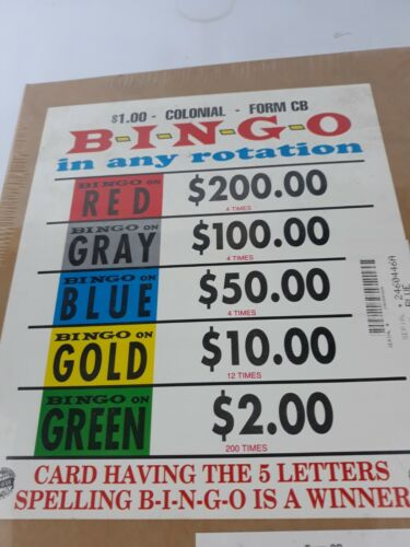 BINGO IN ANY ROTATION PULL TABS - 2400 count $ 1.00 per card -