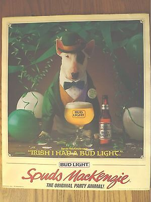 "1987 VINTAGE BUDWEISER BEER POSTER-SPUDS MACKENZIE-""IRISH I HAD A BUD LIGHT"""