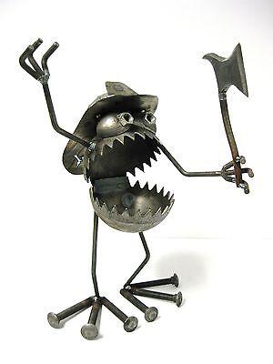 Sugarpost Gnome Be Gone Fire Fighter Outdoor Garden Home Welded Metal Art