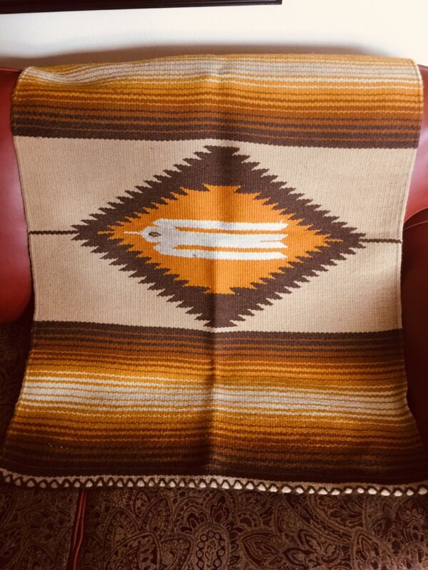 Vintage Mexican Wool Rug Thunderbird Brown Gold