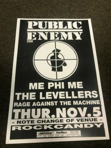Public Enemy Rage Against the Machine 1992 Cardstock Concert Poster 12x18