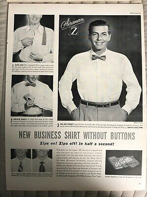 Bates Fabrics~Airman Model Z Shirt Without Buttons~Zip~1949 Vintage Print AD A47